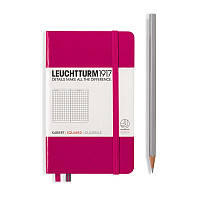 Записная книга Leuchttrum карманная, твердая обл., ягодный, клетка (344804), фото 1