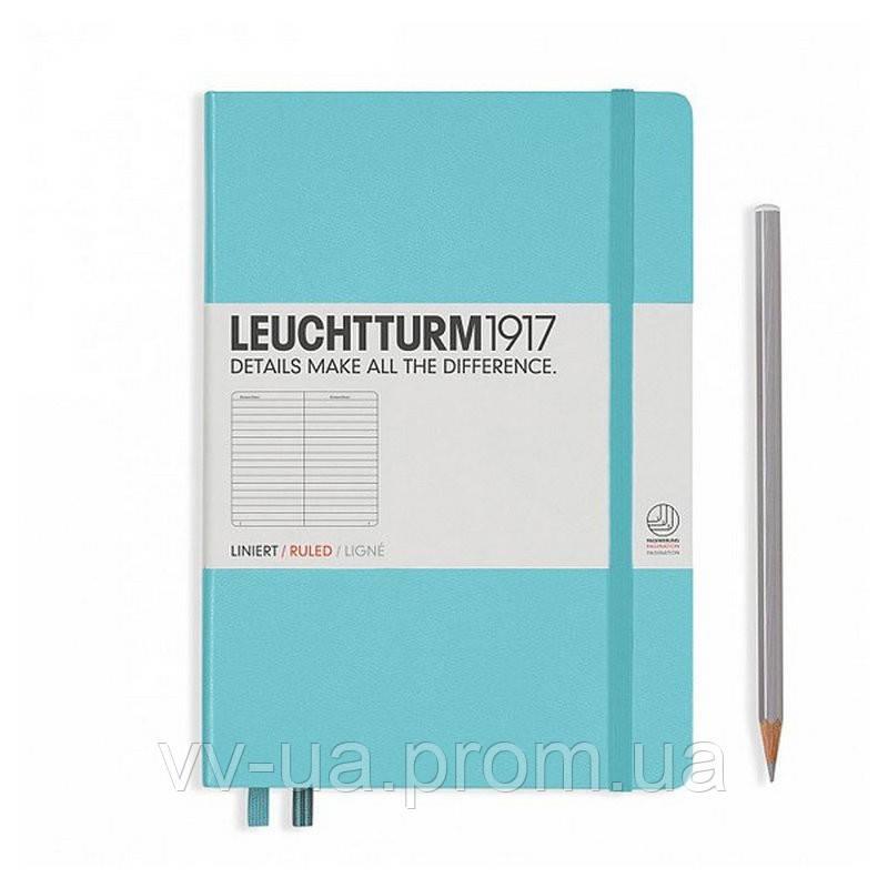 Записная книга Leuchttrum средняя, твердая обл., бирюзовый, линия (338715)