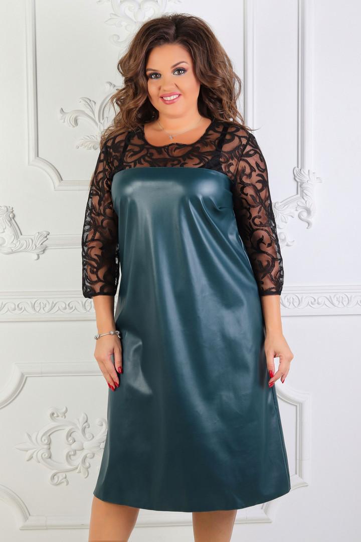 Женское платье больших размеров из эко-кожи (48-62)