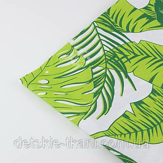"""Отрез ткани """"Листья монстеры и пальмы"""" большие, зелёные на белом, без ромбов №1339, размер 52*160"""