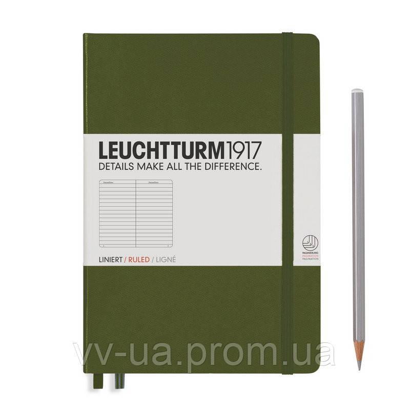 Записная книга Leuchttrum средняя, твердая обл., хаки, линия (348101)