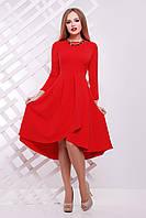 Красивое платье асимметричное юбка пышная длинные рукава креп костюмка красное