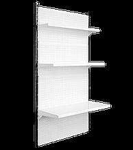 Торговый металлический стеллаж настенный высотой 1900мм шириной 950 мм