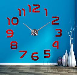 Настенные часы 3D, большие цифры | Зеркальный эффект Красный