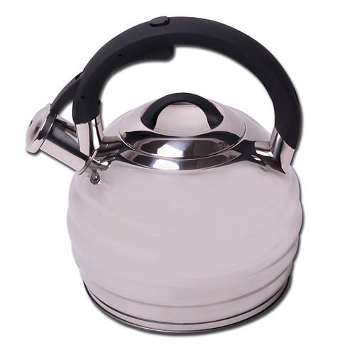 Чайник 3л из нержавеющей стали со свистком и черной бакелитовой ручкой
