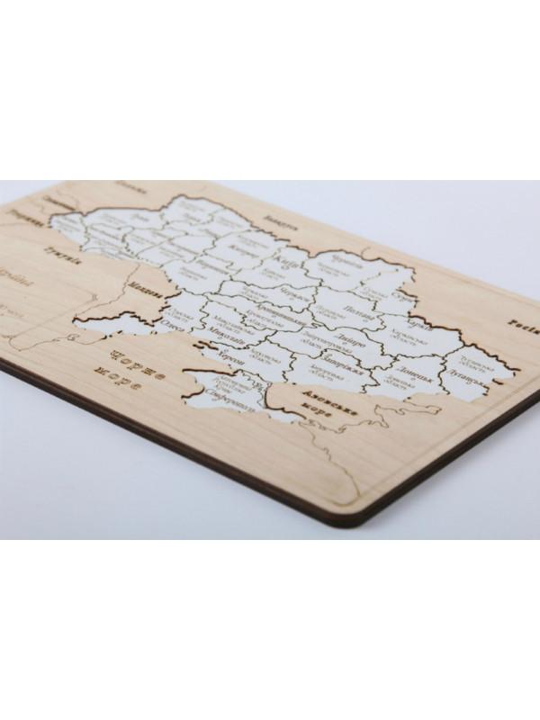 """Пазл """"Карта Украины"""" (мини 150*210 с подставкой) деревяный"""