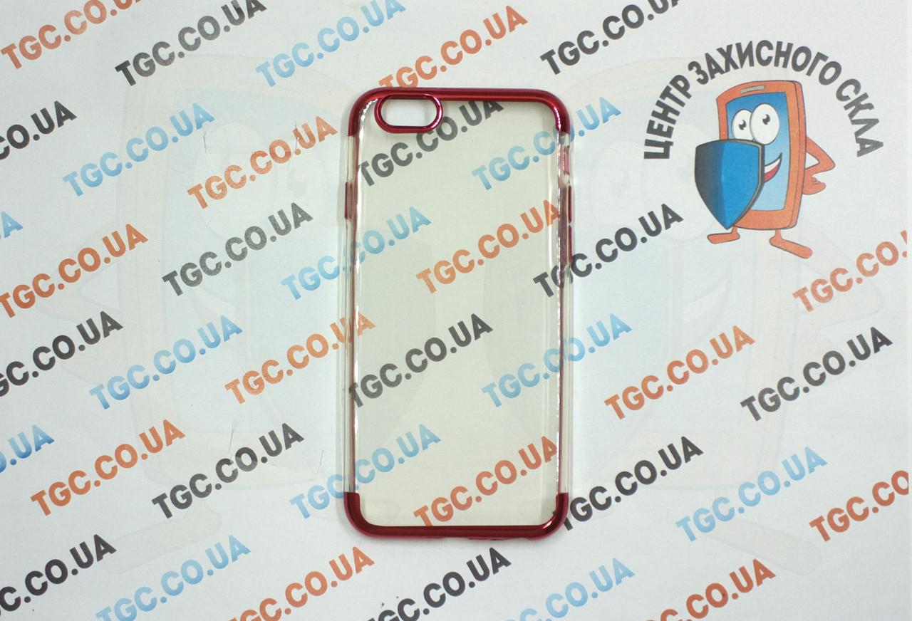 Чехол силиконовый с цветным контуром для iPhone 6/6s - red