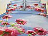 Голубой двуспальный комплект постели бязь с цветочным принтом