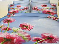 Голубой двуспальный комплект постели бязь с цветочным принтом, фото 1
