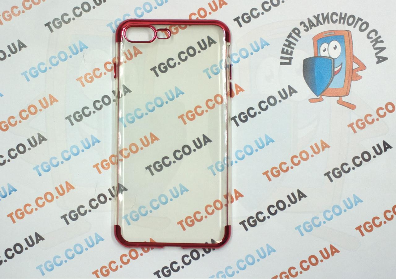 Чехол силиконовый с цветным контуром для iPhone 7 Plus - red