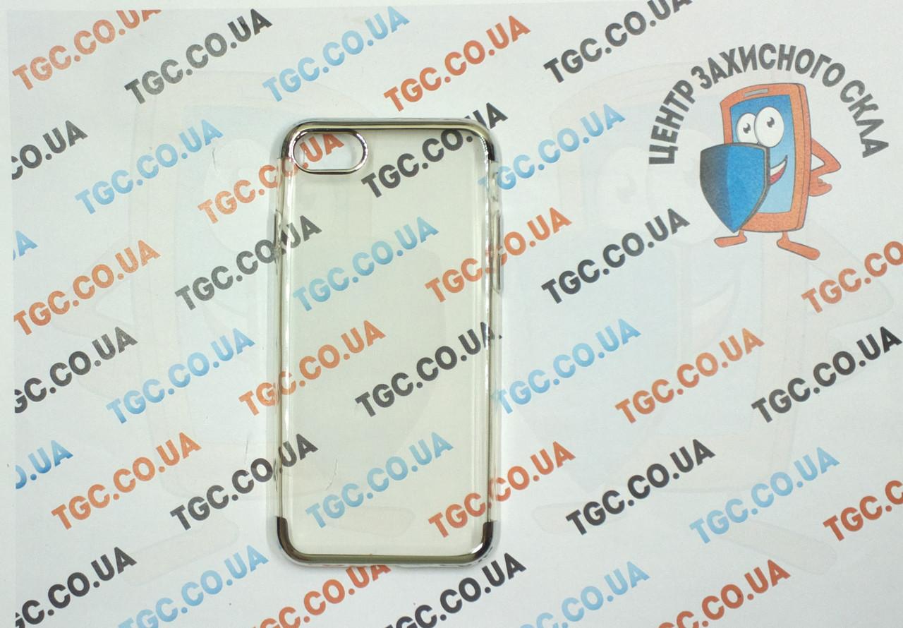 Чехол силиконовый с цветным контуром для iPhone 8 -silver