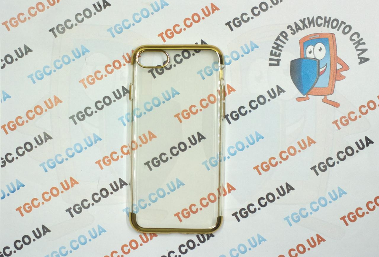 Чехол силиконовый с цветным контуром для iPhone 8 -gold