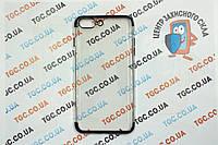 Чехол силиконовый с цветным контуром для iPhone 8 Plus - black