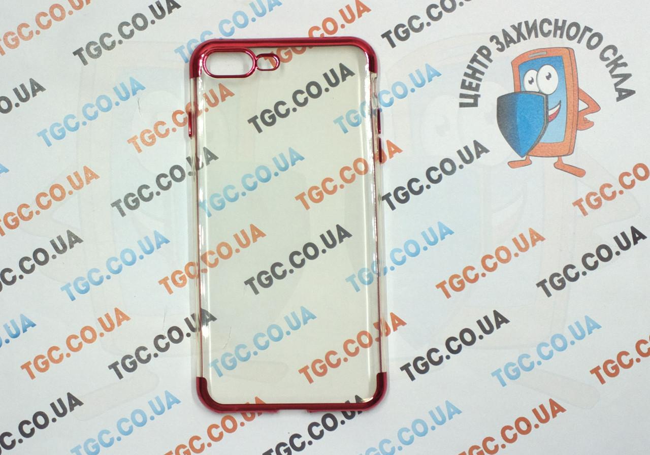 Чехол силиконовый с цветным контуром для iPhone 8 Plus - red