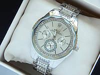 Женские наручные часы Rolex серебристого цвета, серый циферблат с граненным стеклом, фото 1