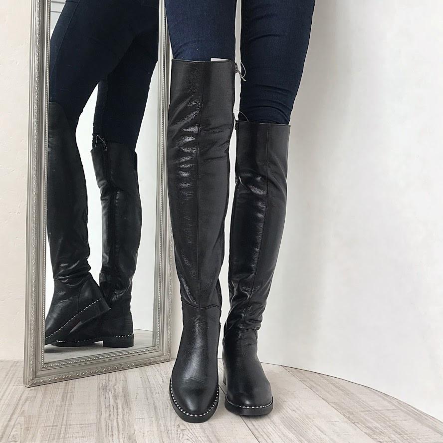 64f10cb51 Черные кожаные ботфорты подошва гвоздики низкий ход осень/зима ...