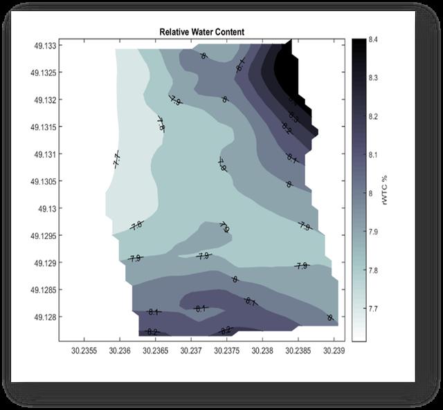 Карта относительной влажности показывает по зонам содержание относительной влажности в почве.