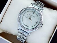 Женские наручные часы Michael Kors серебристого цвета с перламутровым циферблатом и стразами, фото 1