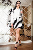 Платье женское офисного стиля, платье полоска молодежное белого цвета