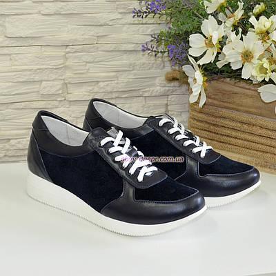 Стильные женские туфли на шнуровке, из натуральной кожи и замши синего цвета