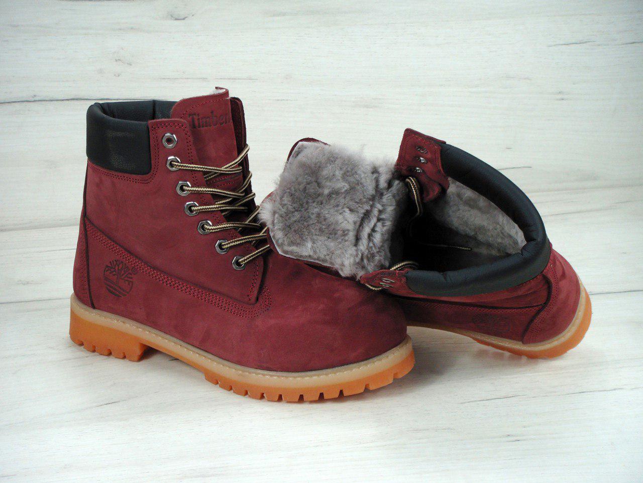 7464fa18e6d0 Ботинки зимние женские в стиле Timberland код товара KD-11077. Бордовые -  SNKRS ONE