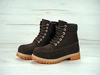 Ботинки зимние женские в стиле Timberland код товара KD-11339. Коричневые 111971e1c6aee