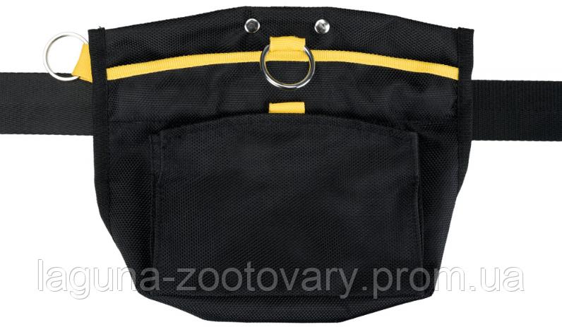 Сумка на пояс СПОРТИНГ23х19см/120см для лакомств, с карманами, до 120 см, черный/желтый