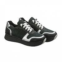 85837b883 Зеленые кожаные кроссовки на высокой подошве. Стильная женская обувь. Обувь  осень 2018. Качественная