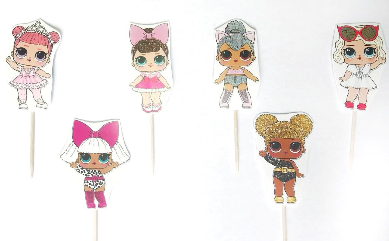 Набор топперов Куклы Лол 6шт 12 см