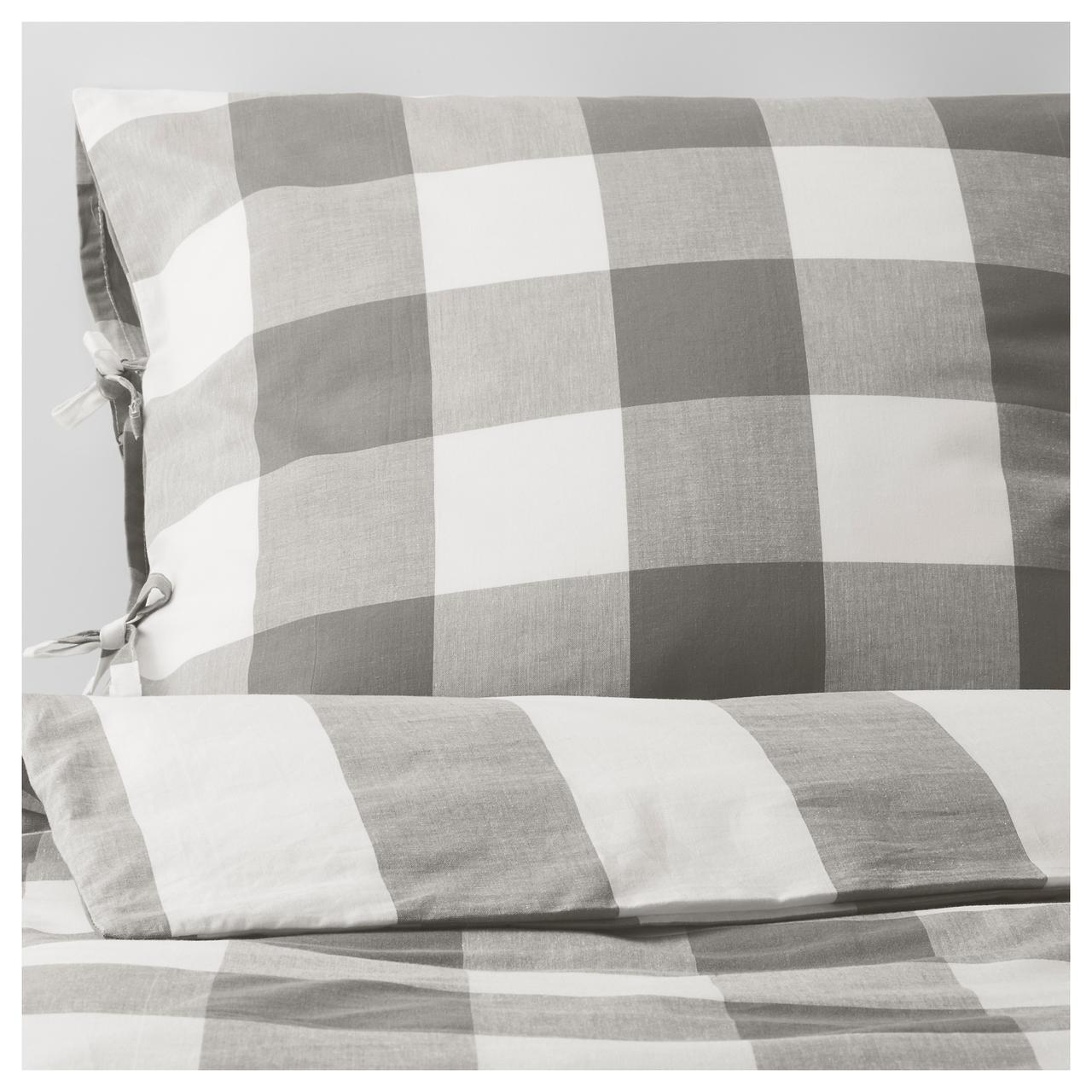 Комплект постельного белья IKEA EMMIE RUTA 200х220 см серый белый 404.049.66