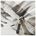 Комплект постельного белья IKEA EMMIE RUTA 200х220 см серый белый 404.049.66, фото 3
