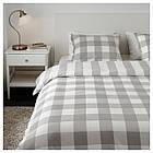 Комплект постельного белья IKEA EMMIE RUTA 200х220 см серый белый 404.049.66, фото 4