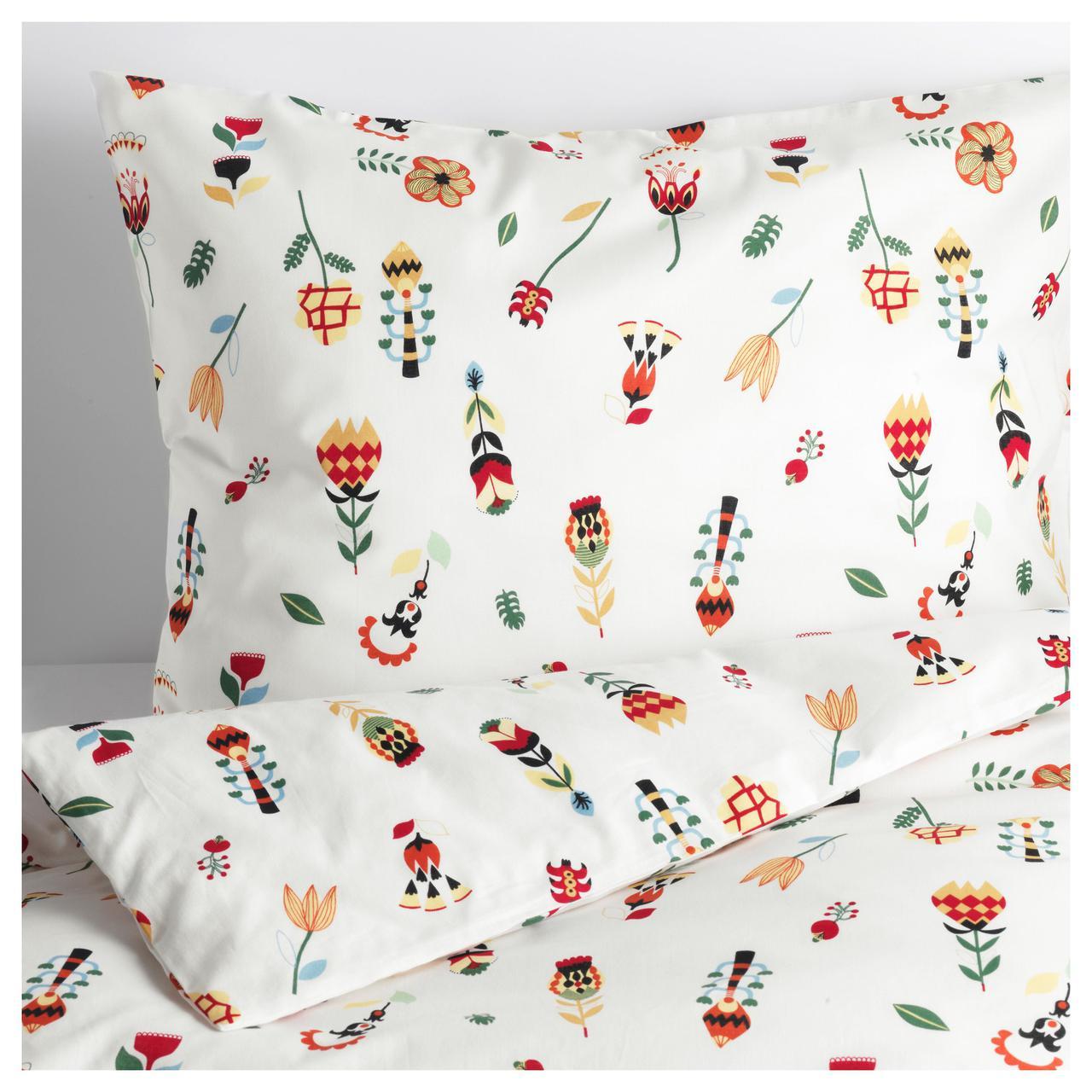 Комплект постельного белья IKEA ROSENFIBBLA 200х220 см цветочный узор 504.032.40