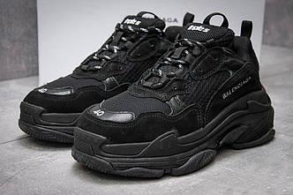 00bc0d1ad8c4 Мужские кроссовки в стиле Balenciaga Triple S Black (Баленсиага) черные,  реплика