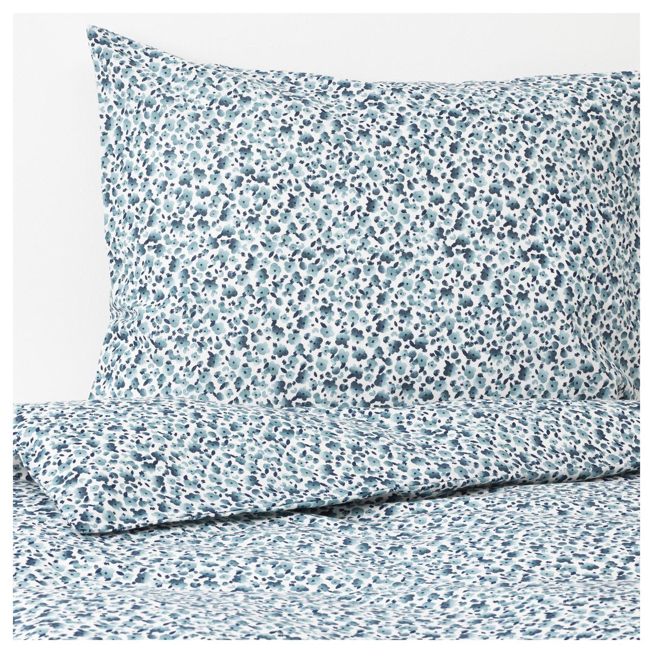 Комплект постельного белья IKEA VATTENMYNTA 200х200 см белый синий 503.902.47