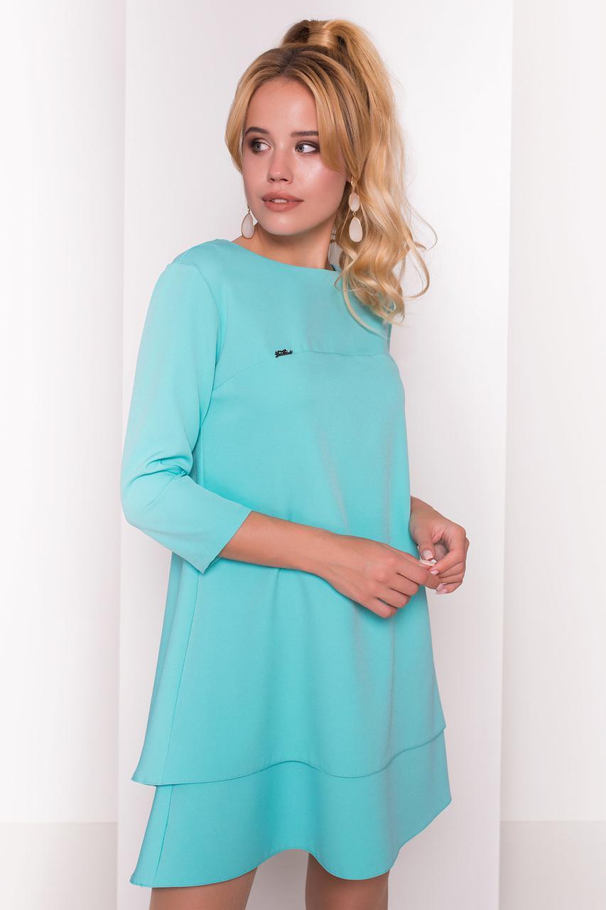 d94f8d07d13 Женское платье-трапеция мятного цвета с рукавом три четверти. Модель 36610  - Irse в