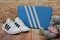 Женские  кеды Adidas SuperStar кожаные стильные молодежные топовые (белые), ТОП-реплика, фото 1