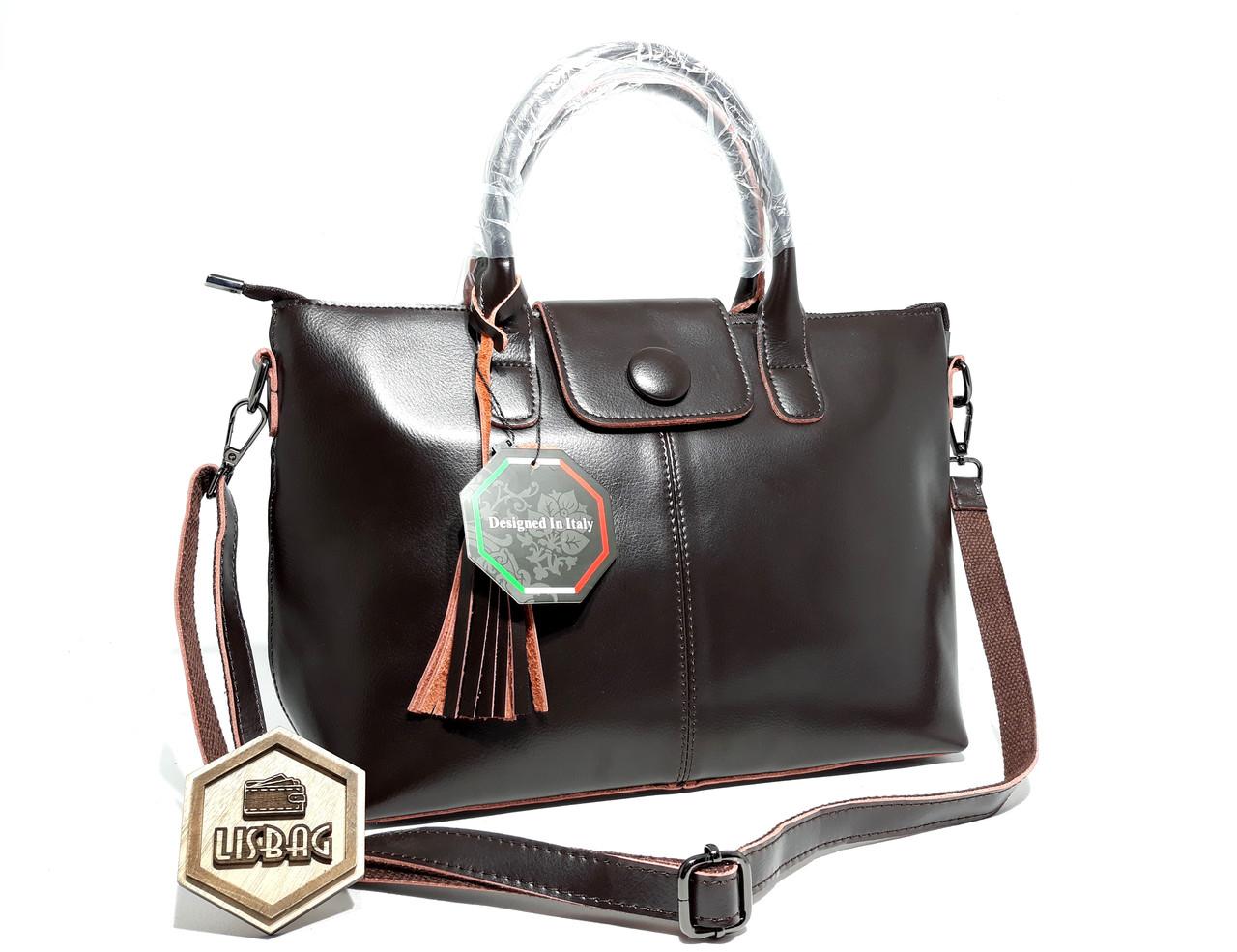 cc8295f65c54 Большая вместительная женская сумка из натуральной кожи, цвет Шоколад  (темно-коричневая) -
