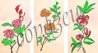 Схема для вышивки бисером Триптих.Лилии.Пионы.Розы. КМРТ 1001