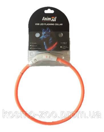 AnimAll (Энимал) ошейник светящийся 70 см, оранжевый