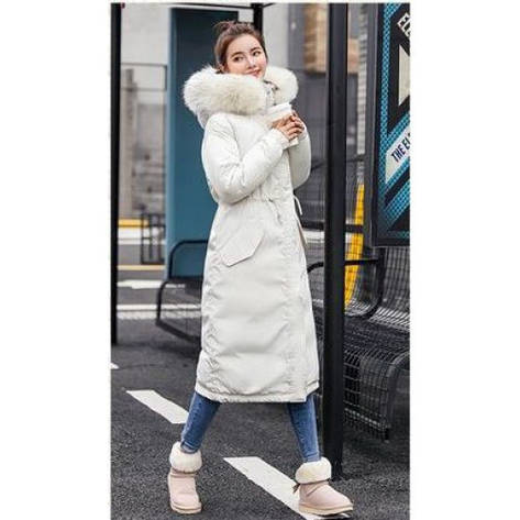 Куртка длинная белая белый меховой воротник (размер XL)-215-03-2, фото 2