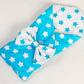 Детский летний конверт на выписку BabySoon Лазурные звезды 80 х 85 см бирюзовый (018)