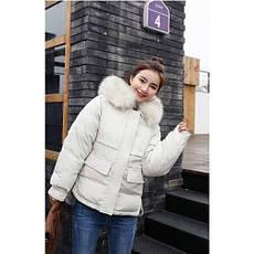 Куртка белая короткая, белый мех на капюшоне  (размер L)-215-04, фото 3