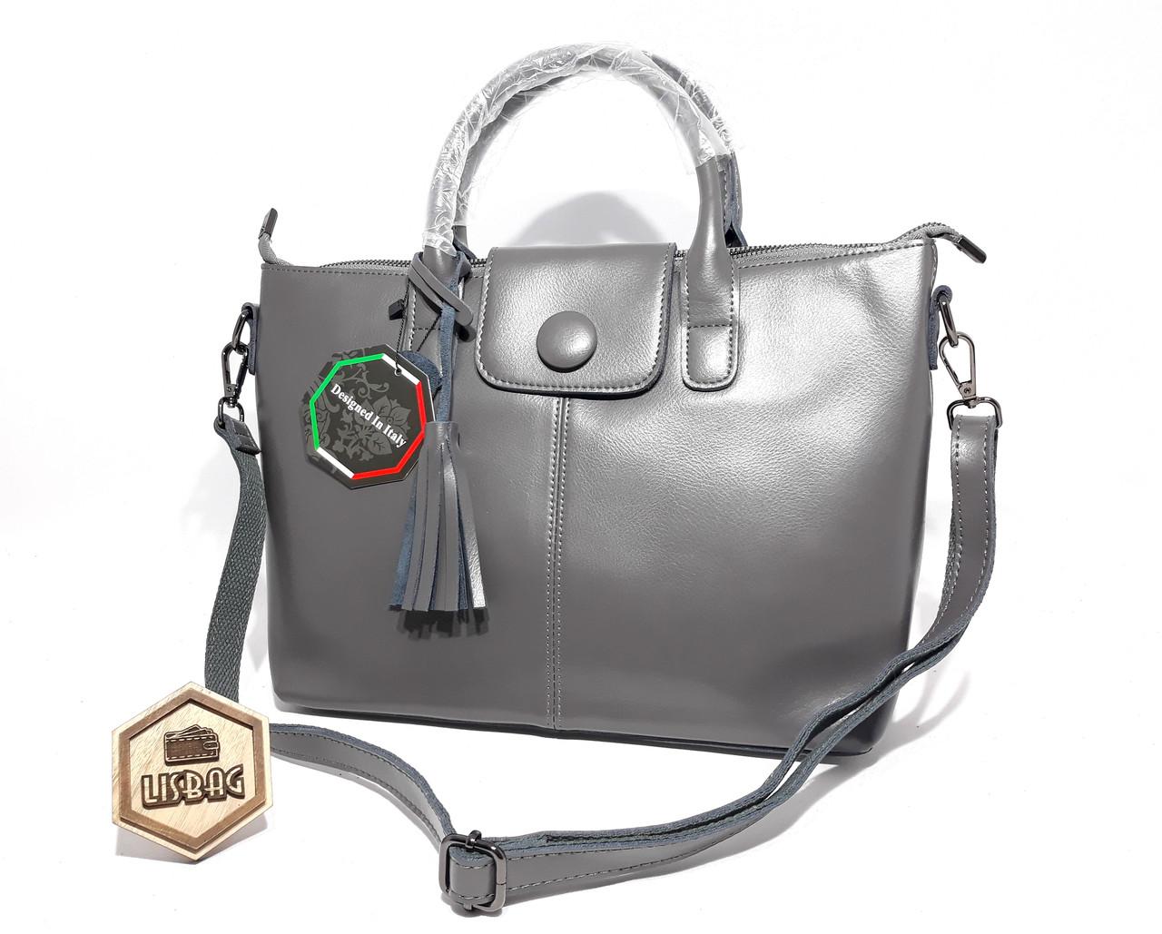 a5d47f94a832 Серая шикарная сумка большая кожаная женская для прогулок или деловых  встреч - Интернет магазин Lisbag в