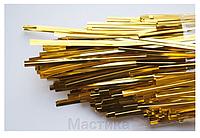 Фольгированная золотая лента завязка для пакетов ( пряников  и кейк попсов)  50 шт