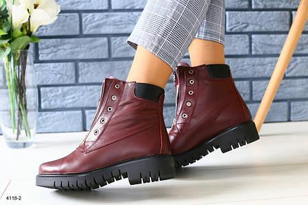 Зимние бордовые кожаные ботинки