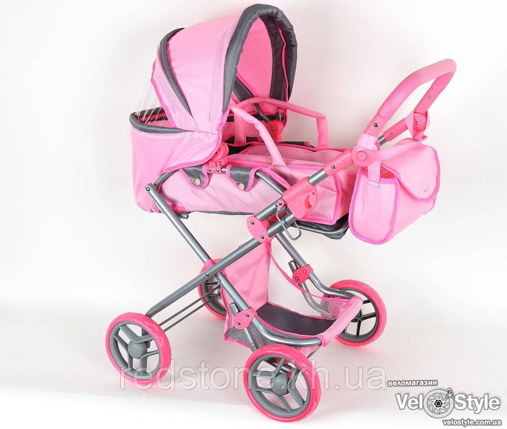 Коляска-трансформер Melogo 9333 (положение лёжа и сидя) цвет розовый с серыми вставками