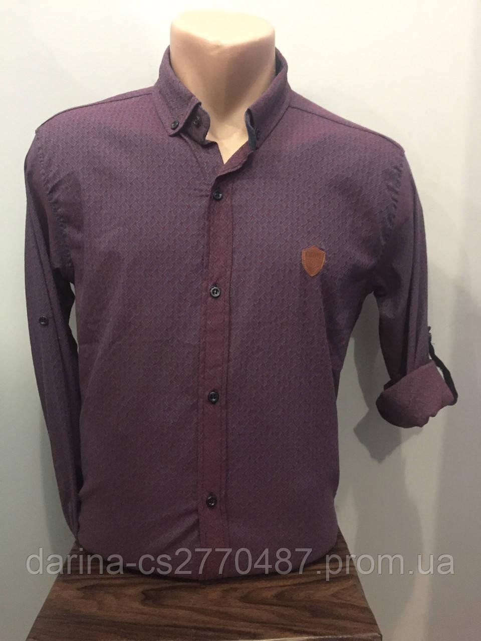 Мужская рубашка в мелкий рисунок на пуговицах S-XL