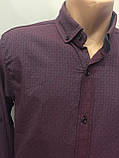 Мужская рубашка в мелкий рисунок на пуговицах S-XL, фото 3