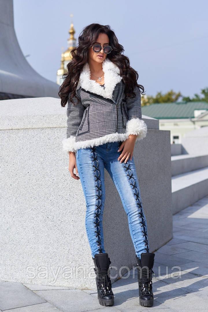 Женская куртка с искус. мехом барашка и отдельно джинсы. А-32-0918